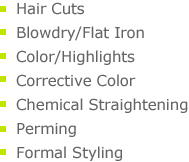 hair cuts, blowdry/flat iron, color/highlights, corrective color, chemical straightening, perming, formal styling